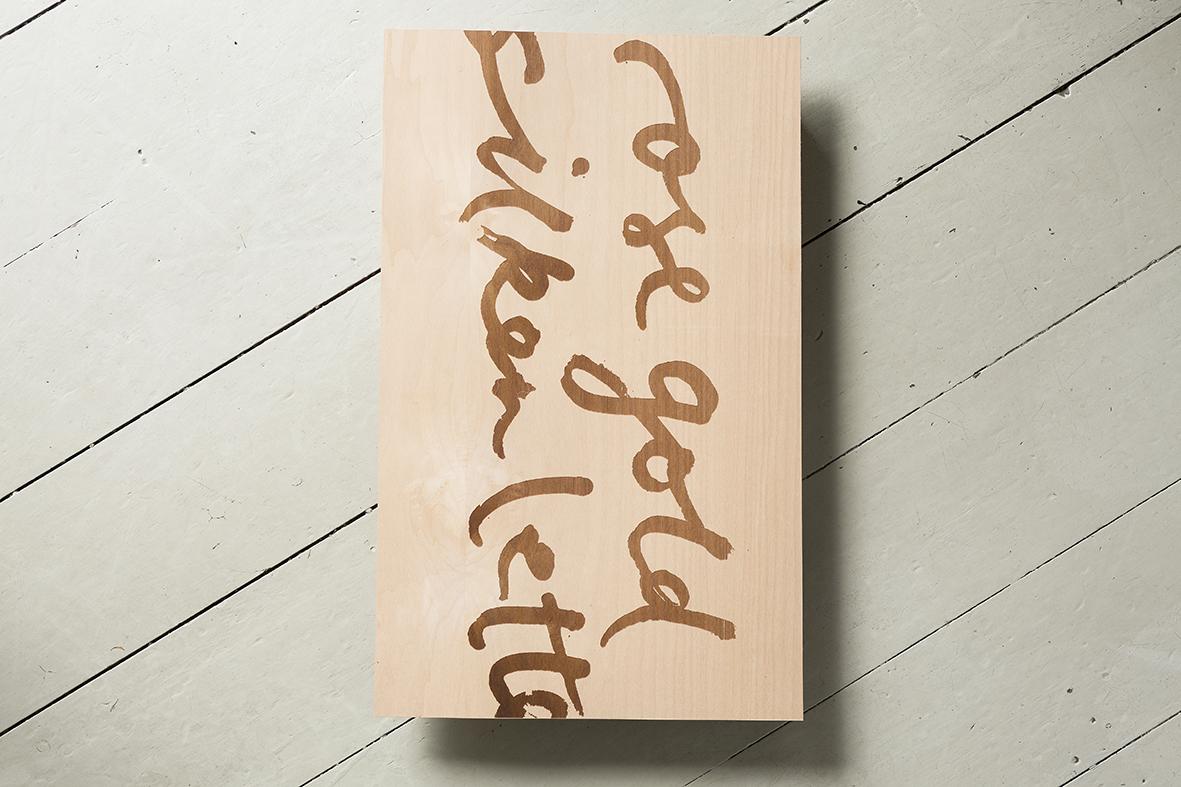 Rose gold silken letters on swiss pear 500cmx300cm